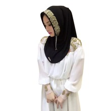New   Women Vintage Muslim Golden Fringe Embroidery Floral Caps Hijab Islamic Full Cover Scarf Hats Y03