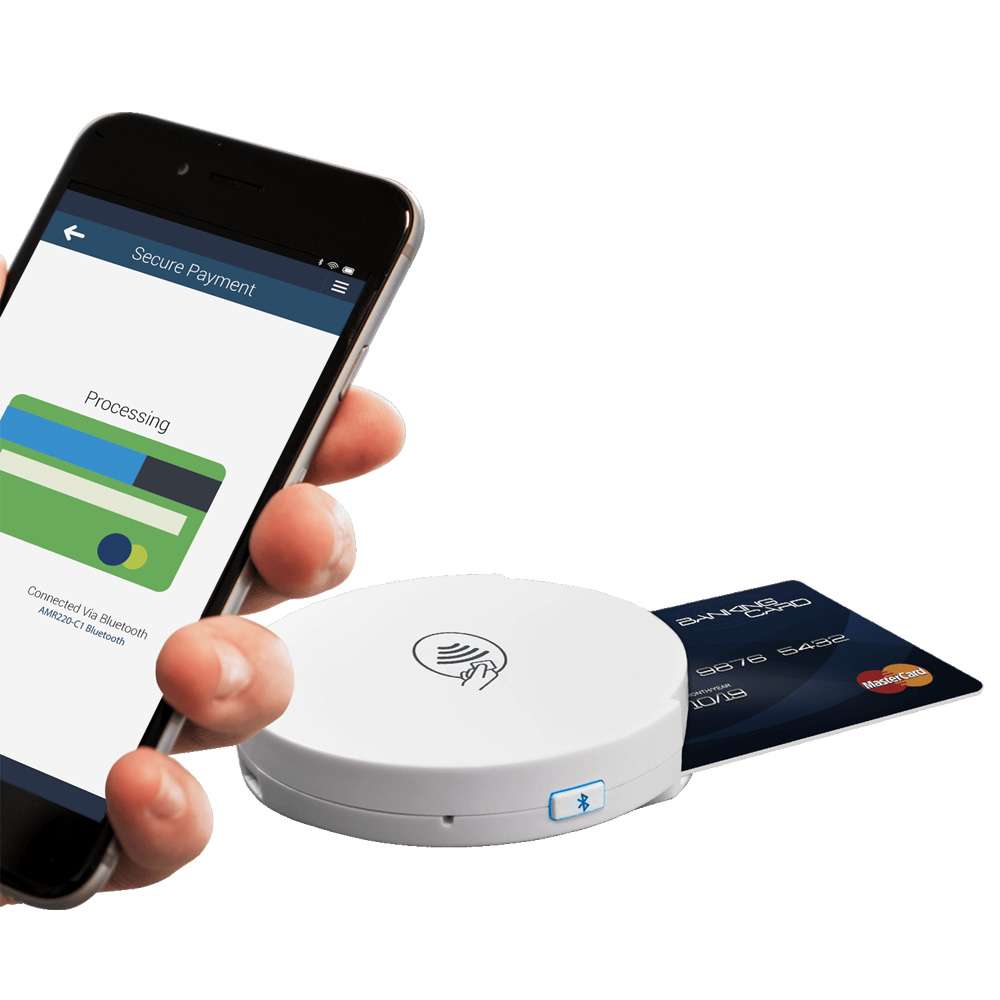 2019 AMR220-C1 Secure Wireless Bluetooth Mpos NFC Dual Reader Writer Support ISO7816 ISOI4443 NFC Cards For Mobile Payment