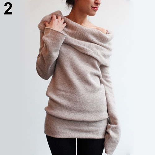 New Arrival Women Sexy Casual Off Shoulder Roll Neck Long Sleeve Knitted Jumper Sweater Top 8