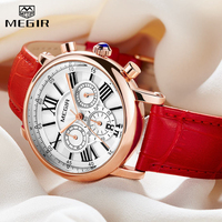 2019 MEGIR Hot Women's Watches Famous Luxury Top Brand Roman Numerals Female Clock Leather Quartz Ladies Watch Relogio Feminino