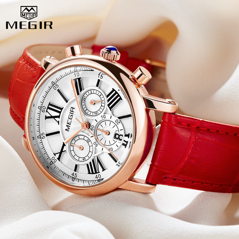 2020 MEGIR Hot Women's Watches Famous Luxury Top Brand Roman Numerals Female Clock Leather Quartz Ladies Watch Relogio Feminino