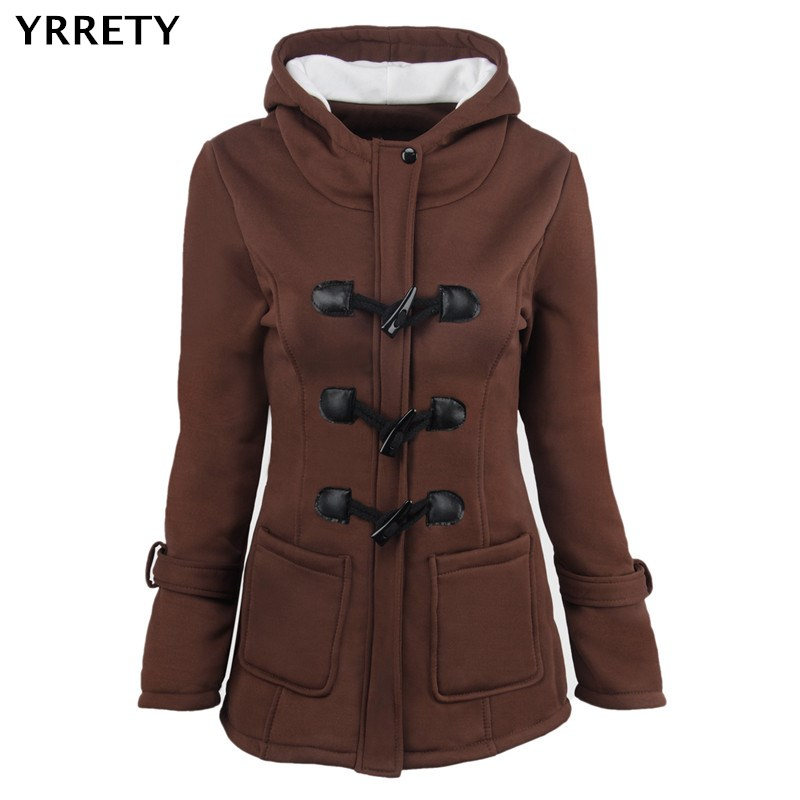 YRRETY NEW Thicker Horn Button Woman Coat Hooded Cotton Clothes Keep Warm   Jacket   Autumn Winter Fashion   Basic     Jackets   Outerwears