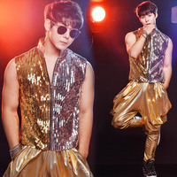 New Listing Stand Collar Gold And Silver Sequins Leather Fabric Men Vest Pants Ds Bar Nightclub Male Singer Stage Costumes Set