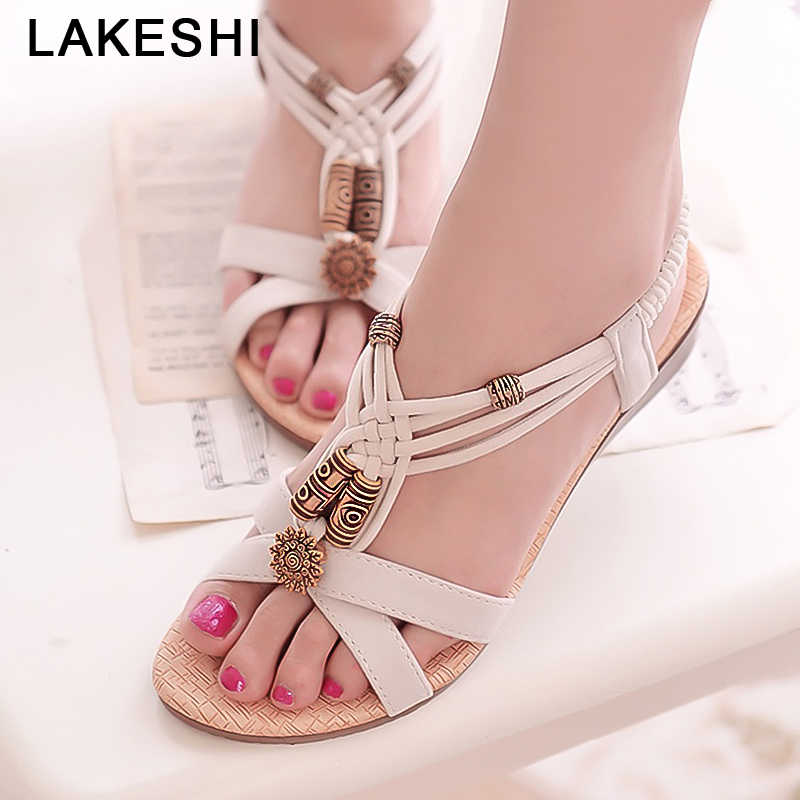 LAKESHI Women Sandals Bohemian Women Shoes Beaded Summer Flat Shoes Elastic Band Ladies Sandals 2019 Causal Flat Sandals