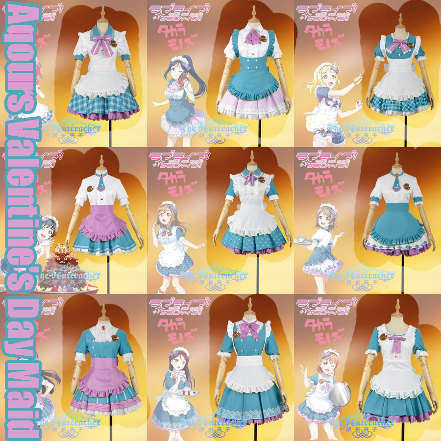 Collection!Anime Love Live Sunshine!! Aqours Valentine's Day Maid Dress Riko Kanan You Chika Cosplay Costume NEW 2017 FREE SHIP