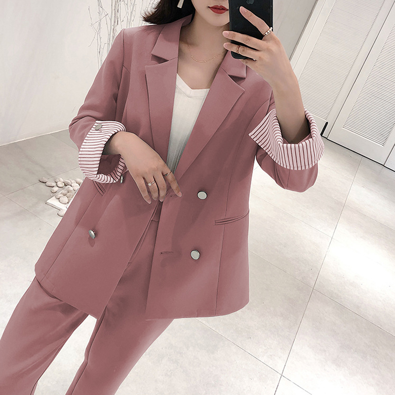 2019 Women 2 Two Piece Sets Short Gray Blue Pink Blazer + High Waist Pant Office Lady Notched Jacket Pant Suits Oversized Femme