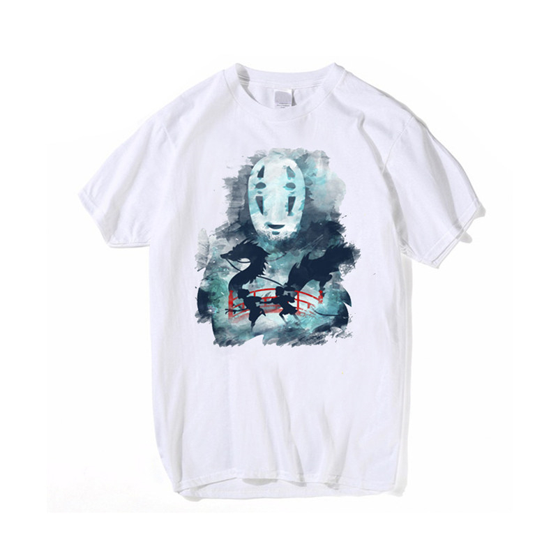 Wholesale Summer Round Neck Short Sleeve Breathable t-shirt Spirited Away Print For Men's Loose Casual Hip Hop Pullover Tops