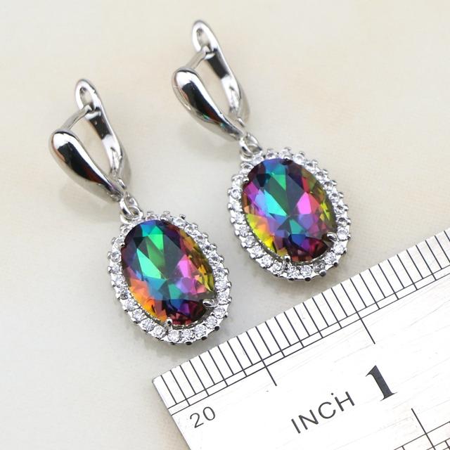 Oval Mystic Rainbow Fire Zircon 925 Sterling silver  Pendant/Necklace/Bracelet/Ring/Earrings Free Box
