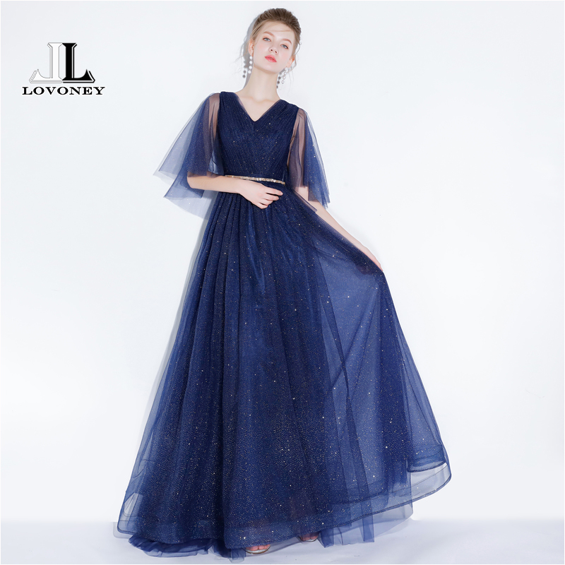 LOVONEY Elegant A Line V Neck Tulle   Evening     Dress   Long Tulle   Evening   Party   Dresses   Prom Gown 2019 New Vestido De Festa YS421