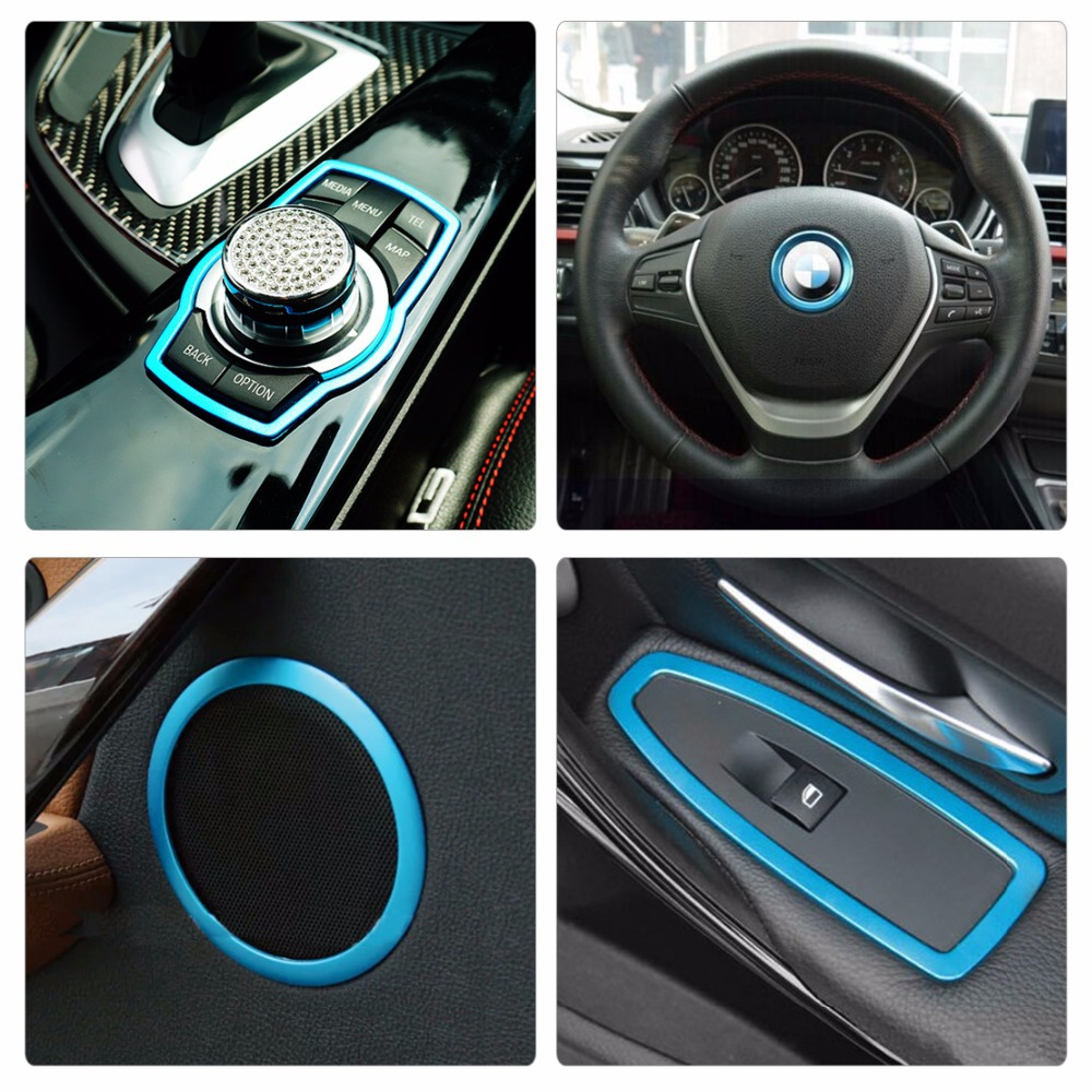 buy new blue interior trim cover kit for bmw 3 series f34 f30 window switch. Black Bedroom Furniture Sets. Home Design Ideas