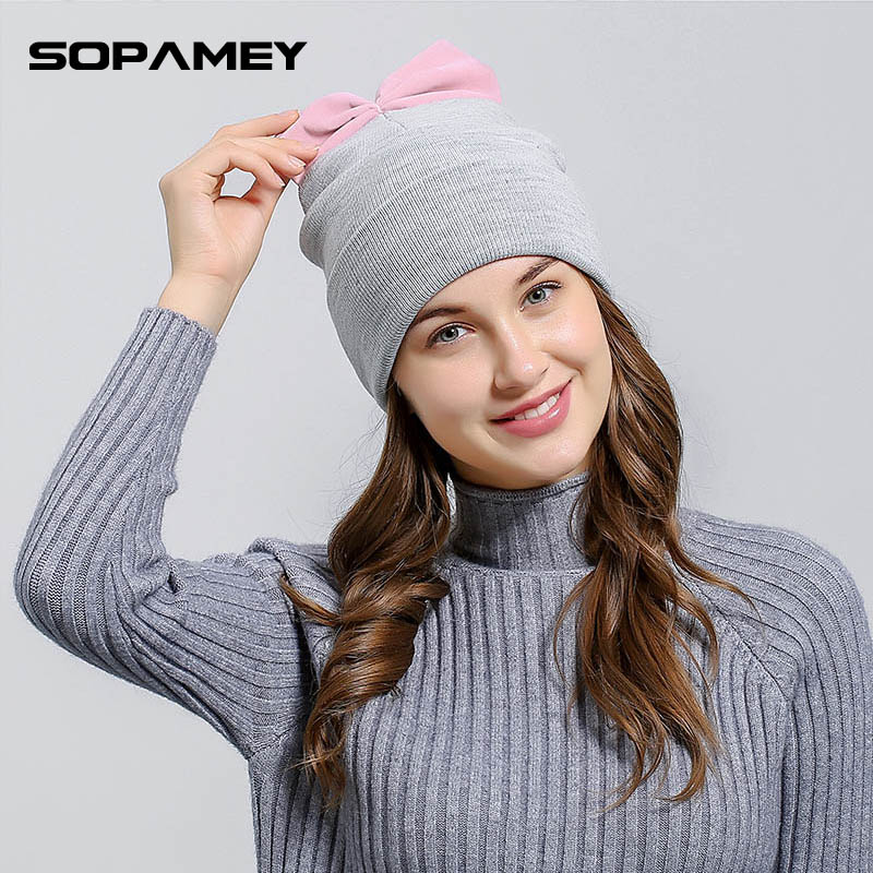 Women's beanies hats for Winter Skullies knitted with Bowknot Europe and America fashional caps 2017 new arrival popular hats skullies