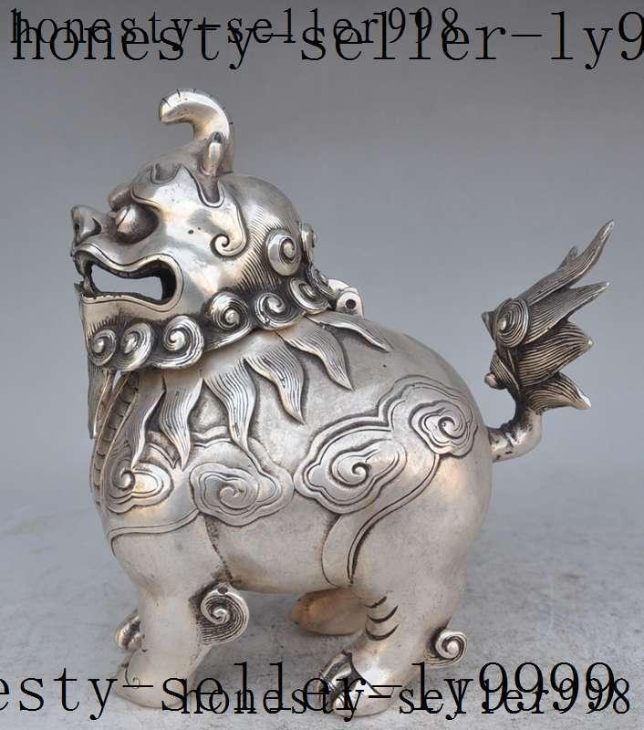 christmas china fengshui silver Guardian door foo dog lion statue Incense Burner Censer halloween