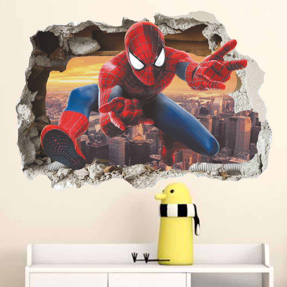 3D through-wall spider man wall stickers for kids rooms decor movie decorative wall decals DIY posters art cartoon PVC mural art(China)