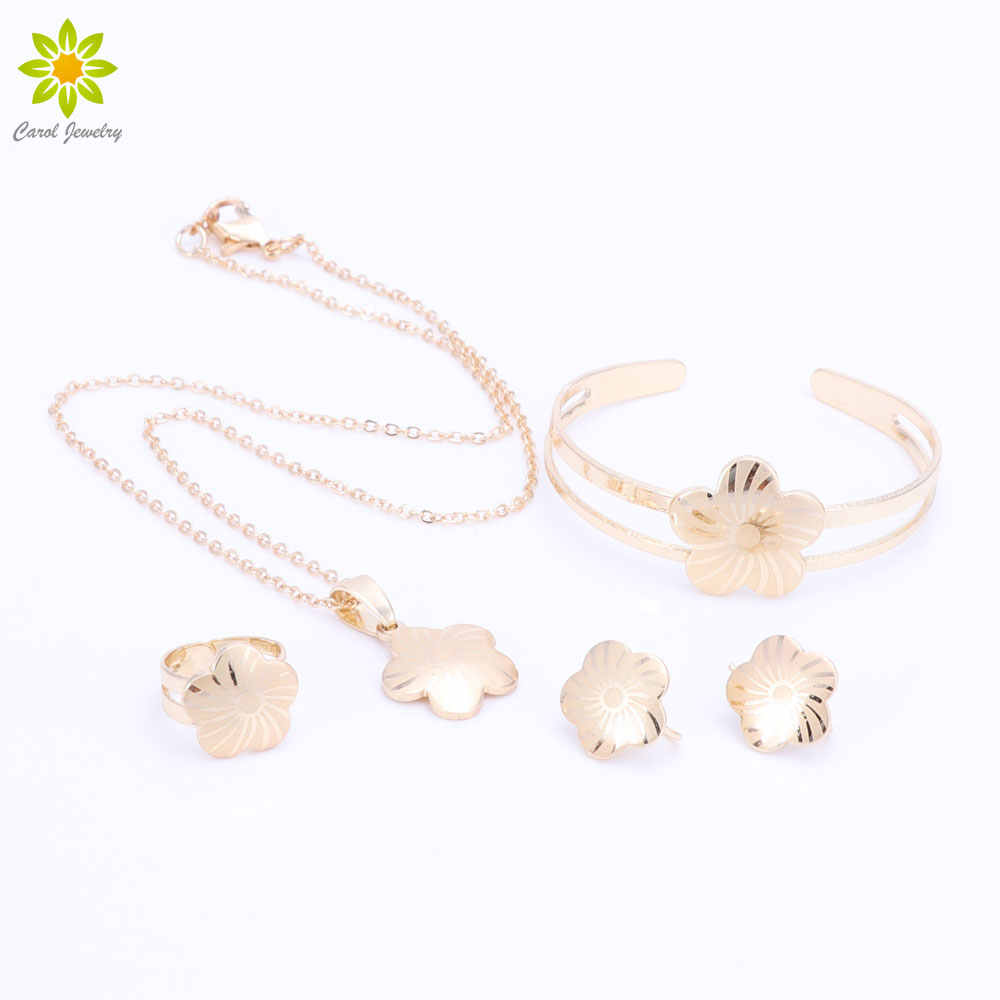 Baby Girls Jewelry Sets Children Gifts Gold Color Kids Jewelry Set Flower Pendant Necklace Earrings Bangle Ring