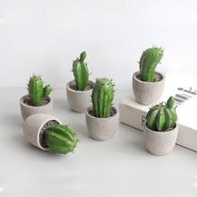 Artificial Cactus Potted Plant Cute Fake Nordic Home Garden Decor Succulent Plants for Farmhouse Office Desktop