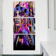 HD Printed Framework Canvas Paintings Wall 3 Panel Native American Indian Girl Feathered For Living Room Cuadros Picture