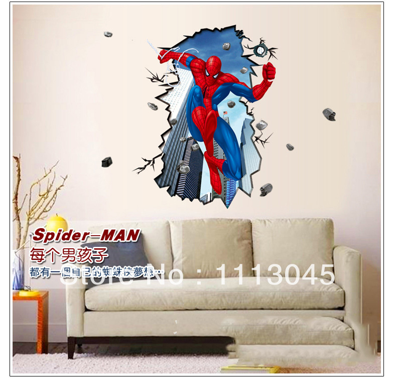 Spiderman break wall sticker kids 39 living room 3d wall for Room decor 5d stickers