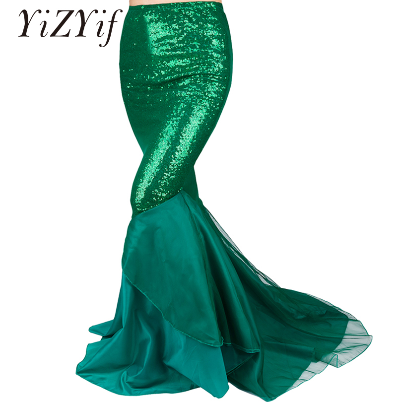 YiZYiF Sequined Mermaid Skirt Halloween Cosplay Mermaid Costume Maxi Skirt Anime Little Mermaid Ariel long green Skirt Women-in Movie & TV costumes from Novelty & Special Use
