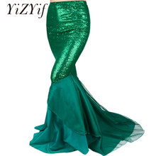 YiZYiF Sequined Mermaid Skirt Halloween Cosplay Mermaid Costume Maxi Skirt Anime Little Mermaid long green Skirt Women
