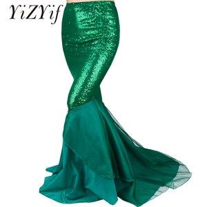 Image 1 - Женская юбка Русалка с блестками YiZYiF, Длинная зеленая юбка макси для косплея на Хэллоуин