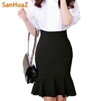 2015 New Brand Fashion Fishtail Skirts Womens Plus Size Pencil Step Ruffles Hem Trumpet Saias Female