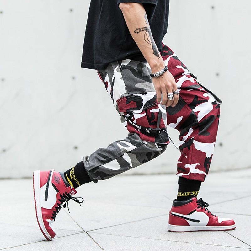 Camouflage Pants Men Camo Pants Hip Hop Cargo Pants Casual Male Jogger Hombre Punk Streetwear Contrast Color Youth Cotton Autumn(China)