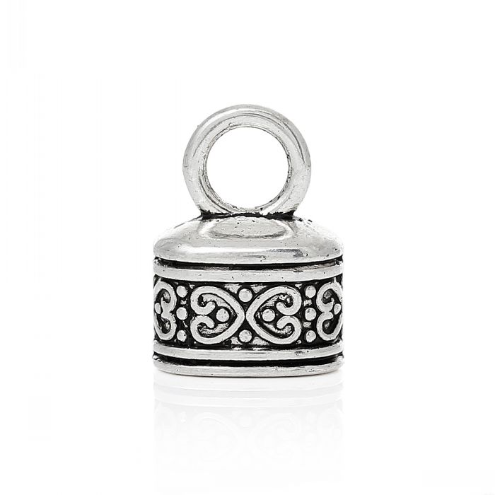 DoreenBeads Retail Necklace Cord End Tip Beads Caps W/Loop Antique Silver Pattern Carved 18mm x 13mm(6/8 x 4/8),50PCs