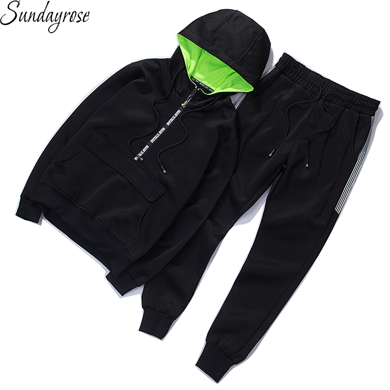 Brand Hoodie + Pants 2 Pieces Men's Sport Suit High Quality 95% Cotton 5% Spandex Gym Fitness Tracksuit Elastic Running Sets
