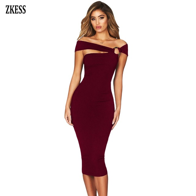 Zkess Women Little Black Elegant Off Shoulder Bodycon Midi Dress Sexy  Strapless Sleeveless Stretch Party Bodycon Dress LC610561 55fe0a9a0619
