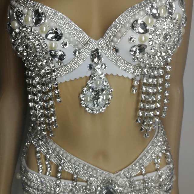 Online Shop Rhinestone Sequins Body Suits Costumes Women Sexy Silver Bra  Short Clothing Set Female Singer DJ DS Dance Stage Wear Bikini Suit  5bb99dda7d7b