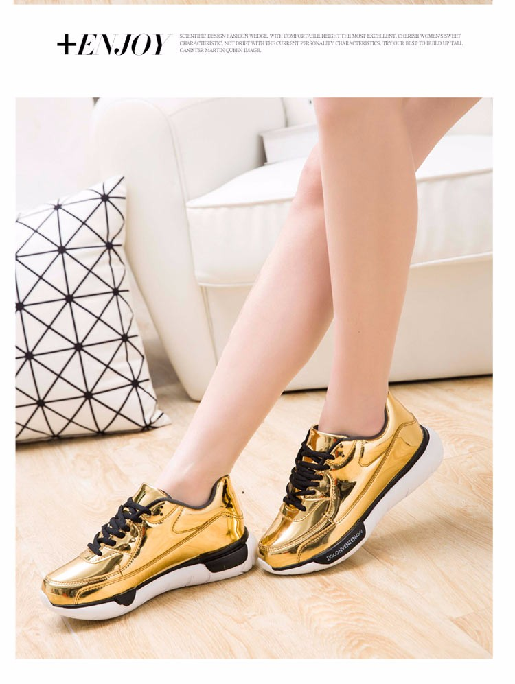 Mirror Surface Women 90 Casual Shoes Fashion Spring Lace Up Platform Womens Shoes Low Top Lace Up Trainers Women Gold Shoes YD52 (11)