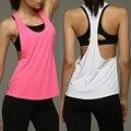 Verão Sexy Tanque das Mulheres Tops de Secagem Rápida Solto Aptidão t shirt T-shirt Sem Mangas Singlet para jogger Trainer Cor Sólida