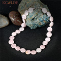 KCALOE Pink Crystal Quartz Necklaces For Women Fashion Jewelry Handmade Rope Lobster Clasp Natural Stone Chocker Necklace