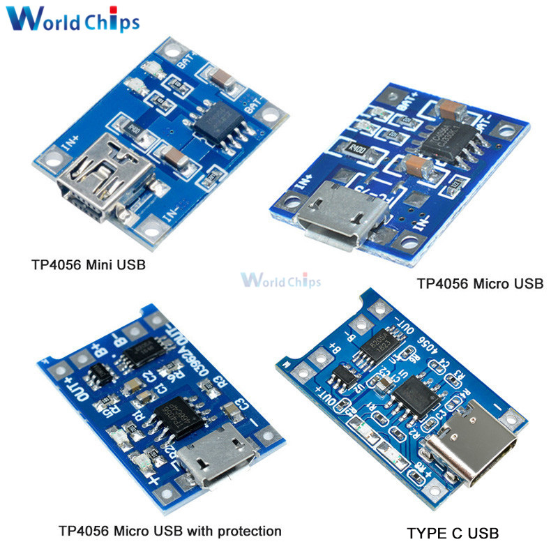 10pcs Mini / Micro USB 5V 1A 18650 TP4056 Lithium Battery Charger Module Charging Board With Protection Dual Functions 1A Li-ion