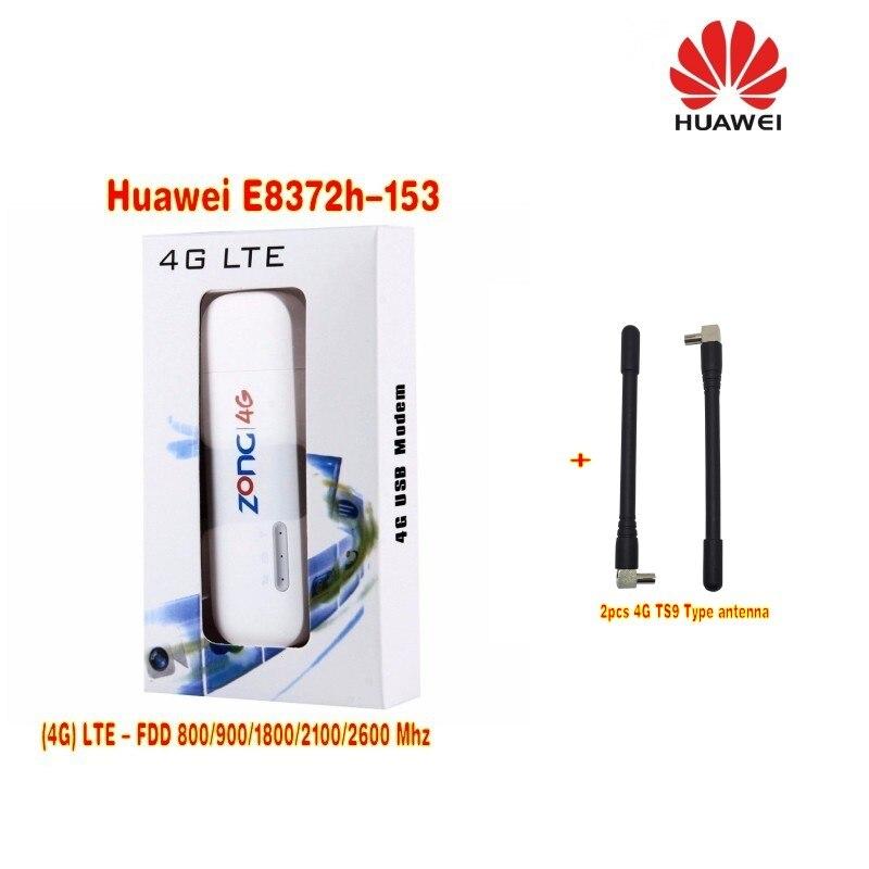 (+2pcs antenna)Unlocked Huawei E8372h-153 Cat4 WiFi Dongle 3G 4G FDD 150Mbps Wireless Modem 150mbps fdd unlocked huawei e3372h 153 3g 4g lte usb dongle 4g crc9 35dbi antenna