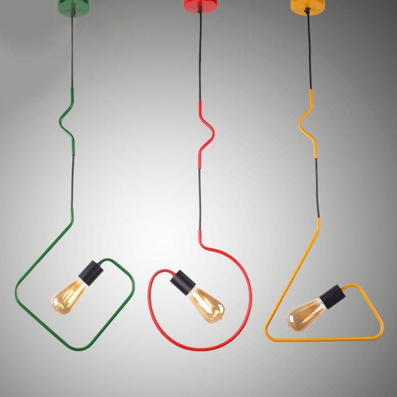 Persnlichkeit Eisen Dreieckige Rechteck Pendelleuchten Kreative Wohnzimmer Restaurant Esszimmer Rot Grn Gelb Lampen ZA