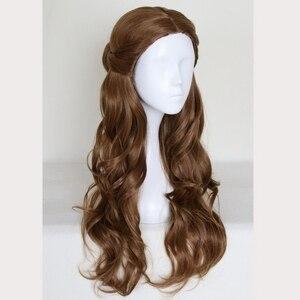 Image 2 - Perruque synthétique style princesse et la bête, coiffure synthétique longue ondulée brune, perruque princesse et la bête, déguisement pour jeu de rôle à la fête dhalloween