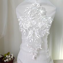 1 Piece Latest Design Ivory Lace Applique Neckline Collar Embroidery Lace Trim DIY Craft Sewing Patchwork Mermaid Evening Dress