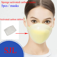 5PCS sponge + Activated carbon layer dust mask KN95 Protection against dust PM2.5 Can be cleaned respirator dust mask