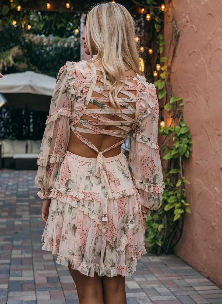 Tingfly модное розовое дизайнерское платье для подиума женское Открытое платье с оборками и цветочным принтом шифоновое мини-платье с открытой спиной и глубоким v-образным вырезом