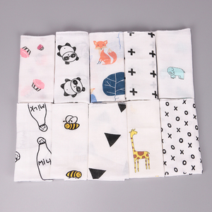 10PCS Kids Baby Cartoon Towel Handkerchief Cotton Muslin Towel Handkerchiefs Two Layers Wipe Handkerchiefs 28X28cm