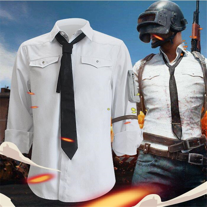 Game PUBG Playerunknown s Battlegrounds Cosplay Costumes White Shirts Man Woman Same Style Clothing High Quality
