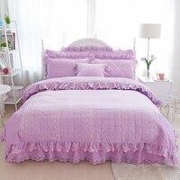 , Бежевый кружевные хлопковые стеганые толстые постельный комплект принцесса девушки комплект постельных принадлежностей twin Королева дву