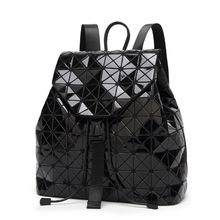 Hot Sale Black Laser Backpack Women Bao Geometric Shoulder Bag Students School Hologram Quilted Fold Over backpack mochilas