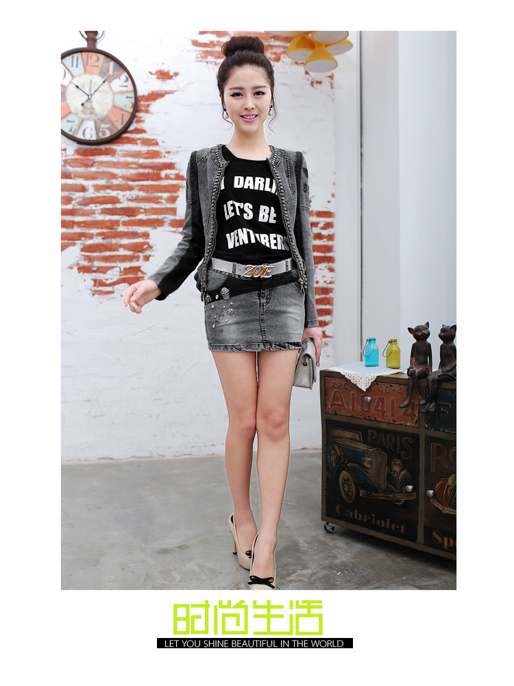 hot 2014 high quality girl punk diamond skull mini jean skirts ...
