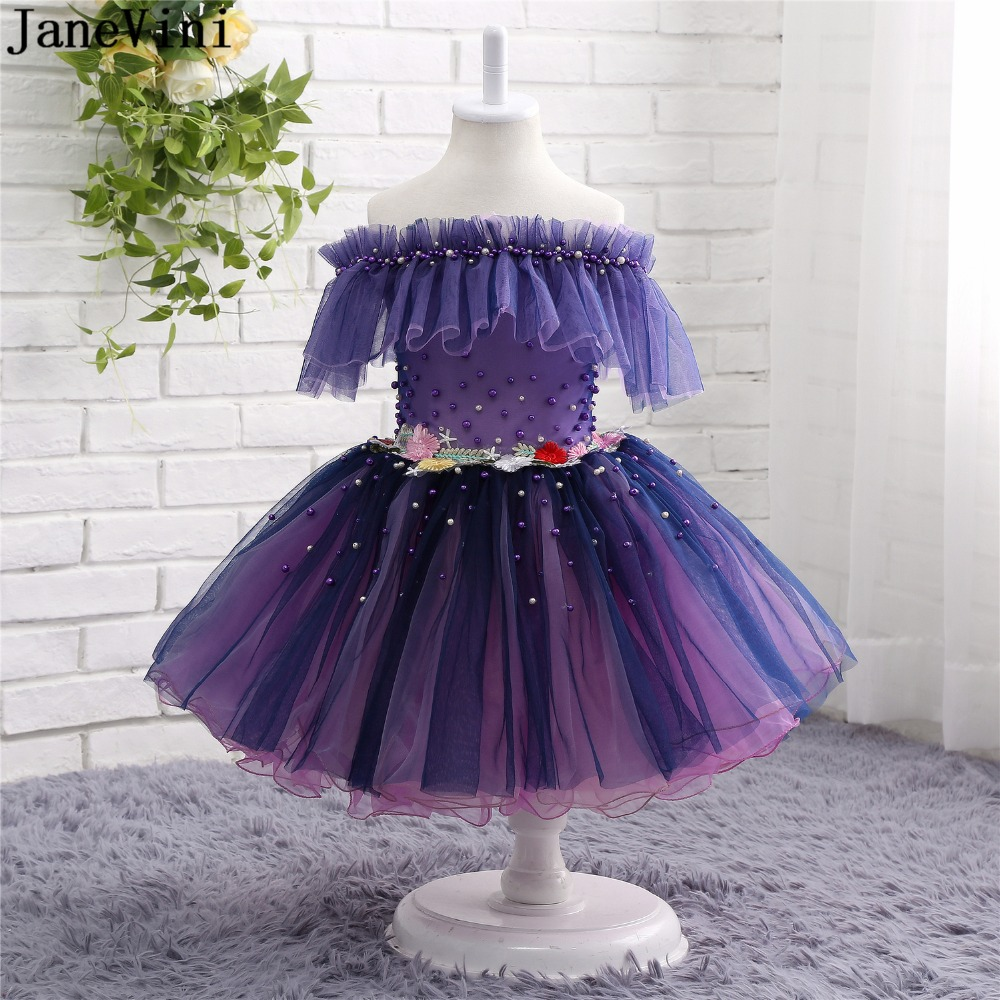 JaneVini Charming Purple   Flower     Girl     Dresses   with Handmade   Flowers   Kids Wedding Party Gowns Ball Gown Pearls Pageant Party   Dress
