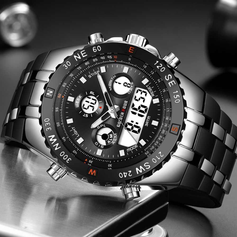 ใหม่นาฬิกาข้อมือ GOLDENHOUR แฟชั่นผู้ชายนาฬิกาควอตซ์กีฬากลางแจ้ง Mens Dual Display ซิลิคอนกันน้ำ Relogio Masculino