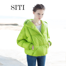 2015 women down warm coat jacket parka hooded candy green fashion new winter outerwear famous band modal plus size