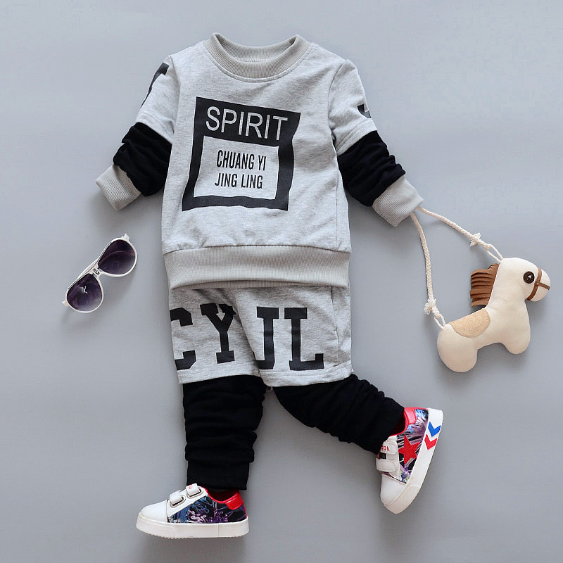 Baby Boy Clothes suit 2018 cotton letter patchwork Sweatshirt+Pant 2pcs kids clothing Toddler girl pullover childrens costumes