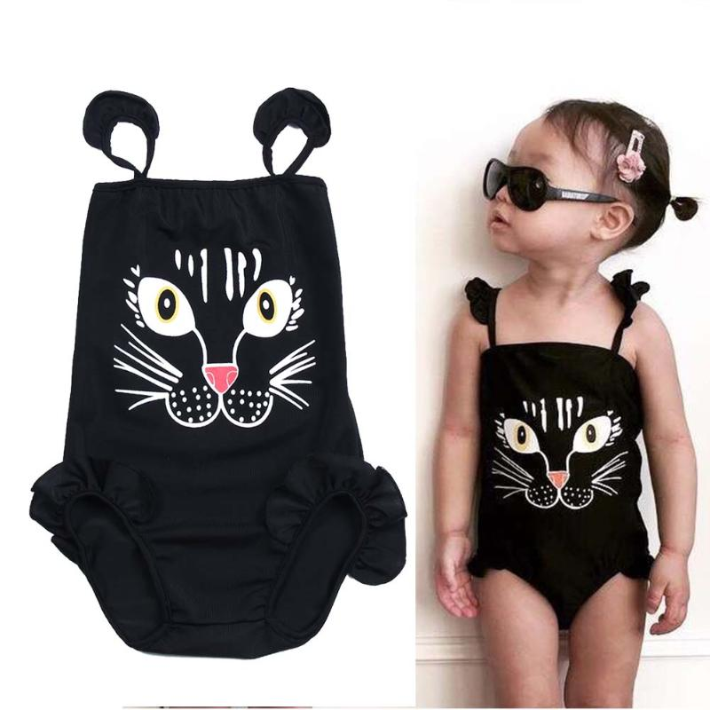 2016 New Baby Girls Kids Fashion Bikini Swimwear Swimsuit Lovely Cartoon Print One-piece Bikini Set Summer cothes 2T-6T